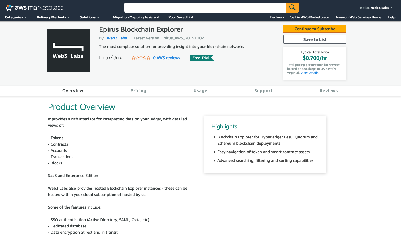 AWS Marketplace offer